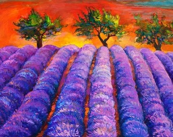 Purple fields 16x24in, Original landscape Impressionistic oil painting by Nikolov