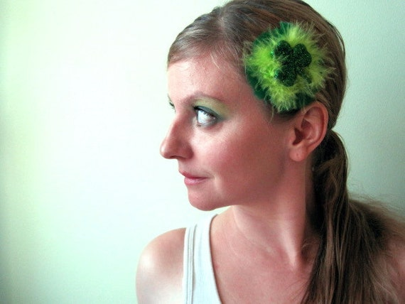CLEARANCE - Shamrock Hair Accessory - Luck of the Irish - Feather and Glitter St Pattys Day Hair Clip