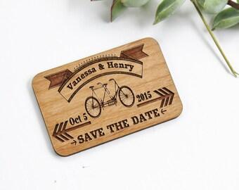 Magnet Save The Date - Alder Wood - Laser Cut Retro Bike Design
