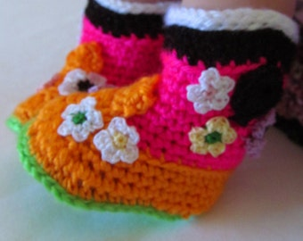 Cowgirl Baby Boots, Baby Booties, Baby Cowgirl Boots, Flower Baby Boots, Flower Booties, Baby Booties, New Baby Booties, Floral Baby Booties