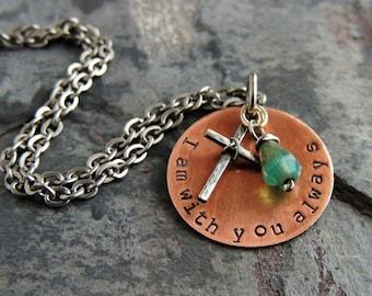 Christian Jewelry Cross Necklace Bible Verse Jewelry Religious Jewelry Inspirational Gift Matthew 28:20 I am with you always