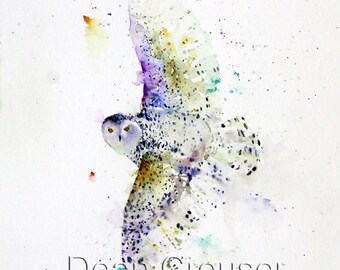 SNOWY OWL Watercolor Bird Art Print, Owl Painting by Dean Crouser