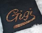 Gigi leopard print Applique t shirt