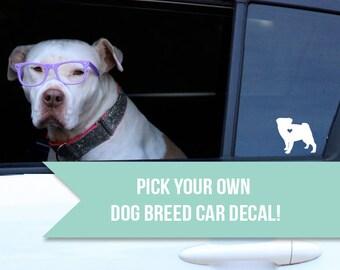 Dog Decal, dog breed decal, dog sticker, dog lover, pug lover gift, dog breed, decal, sticker, dog, pet supplies