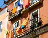 Laundry Room Decor - Rustic Lisbon Portugal Photography - Colorful Laundry Print - Portuguese Balcony Photo Home Orange Wall Art
