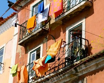 Laundry Room Decor - Rustic Lisbon Portugal Photography - Colorful Laundry Print - Portuguese Balcony Photo Home Orange Wall Art