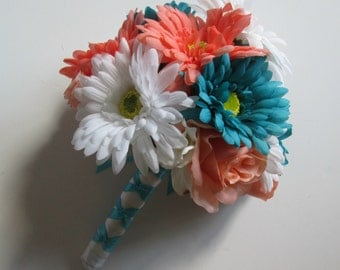 Turquiose and Coral Wedding Bouquet, Aqua, White and Coral Bouquet, Bridesmaids Bouquets, Silk Wedding Bouquets, Gerbera Daisy Bouquet