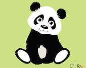 Panda Decal, Panda Vinyl Wall Decal for Nursery, Kids, Childrens Room