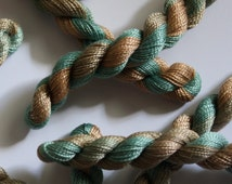 Hand Dyed Embroidery Yarn - Perle 8 Cotton Thread - Variegated Shades of Pale Green and Brown - Skein Ref. 5360