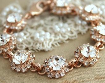 Wedding Bracelet  Rose Gold Rhinestone Bracelet Swarovski classic Crystal bracelet , bridesmaids,Bridal jewelry - 18k gold  plated.