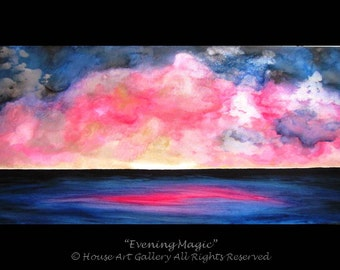 LARGE Abstract Seascape Ocean Clouds Sky Sunset Painting Original Acrylic Modern Art Contemporary Metallic Blue Pink Fuchsia Gold 48 x 24