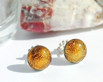 "Petite Dichroic Glass Stud Earrings, Fused Glass Jewelry, Sterling Silver Posts - Sunset, Warm, Orange, Gold, >5/16"", 8.5mm (Item #30741-E)"