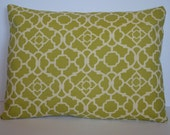 CLEARANCE: Green and Ivory Designer Indoor/Outdoor Lattice Pillow Cover 12x16