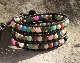 Handmade Leather Wrap Bracelet - Multicolored faceted  beads on leather