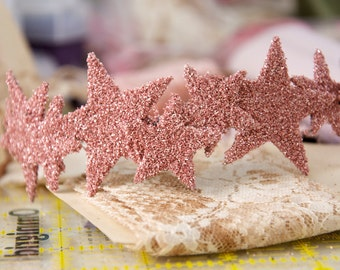 beautiful blush pink pure glass glitter sparkle STAR CROWN skinny metal HEADBAND hair piece with large and small stars any color you want