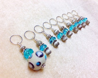 Knitting Stitch Markers, Gift for Knitters, Snag Free Blue & Grey Beaded Stitch Marker Set- Lampwork
