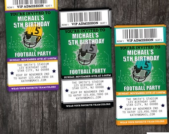 Football birthday party invitation - ticket style - customizable colors - kids or adults