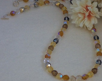 Czech Glass Beaded Necklace With Gold and Brown Colors   FREE SHIPPING