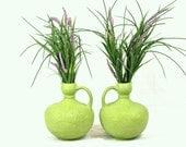 Stoneware Green Pitchers Vases Pair Set 1970's Vintage Floral Handmade Pottery Retro Mantle Decor Decanters