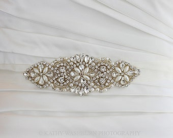 Bridal crystal applique sash with pearls, bridesmaid sash, bridesmaid gift, pearl wedding belt - PETITE KATERINA- ready to ship