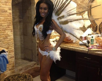 Runway Model White Gold Angel Feather Costume Wings