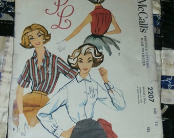 1950s McCalls Pattern 2207, Misses Monogram Blouse with Transfer, Size 12, Bust 32, Waist 25