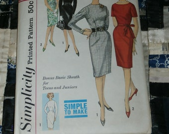 "Vintage 1960s Simplicity Pattern 4602, Teen Dress and Jacket, Size 12, Bust 32"", Waist 25"", Hip 34"""