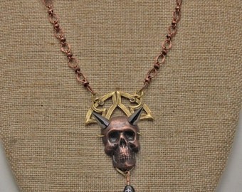Handmade Punk Goth Horny Skull Talisman  Necklace With 20 Inch Chain Art Jewelry