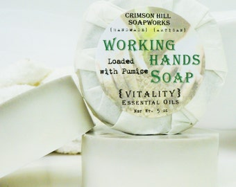 WORKING HANDS SOAP - large 5 oz, pumice, shea butter, mango butter, cocoa butter, natural, citrus, men, man