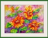 Batik Painting Sunflowers Watercolor Gold mayve Green by Martha Kisling