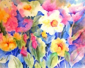 Watercolor Flowers White Yellow Gold Pink by Martha Kisling