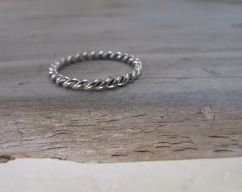 Twisted ring rope ring sterling silver twisted band