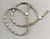 Natural Hemp Besties Friendship Bracelets 2 Lavender Glass and White Plastic Alphabet Beads White Wood Bead, Handmade
