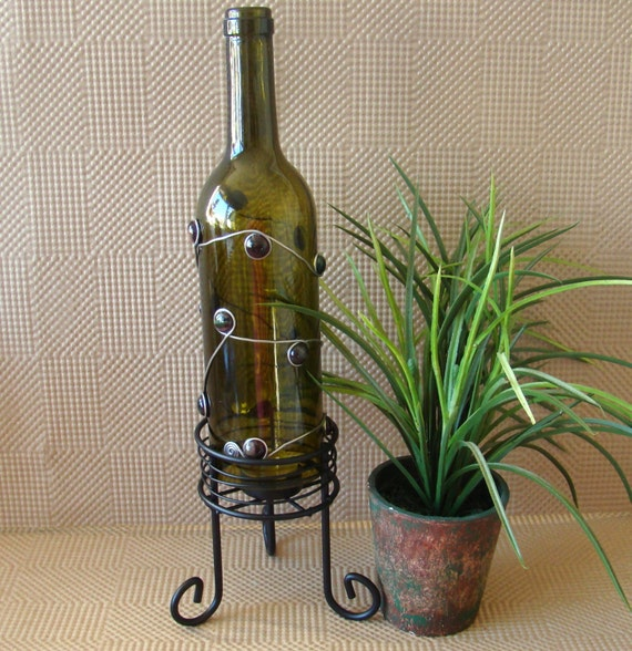 Wine bottle candle holder wine lovers wire wrapped wine for How to make candle holders out of wine bottles