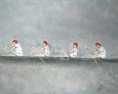 "Giclee art print. rowing man men. portrait art. gray white and red ""Crew"""