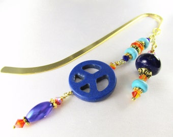 Peace Beaded Bookmark in Blue Lapis, Turquoise Magnesite, and Orange Crystals, Gold metal