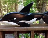 "Orca Whale 24"" chainsaw wood Killer Whale carving nautical home accent pacific beach cottage indoor/outdoor art coastal decor wall mount"