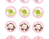 "Printable ""Jungle Jill/Girl Animals/Elephant/Giraffe/Zebra/Monkey"" Cupcake Toppers/Stickers/Tags Instant Digital Download"