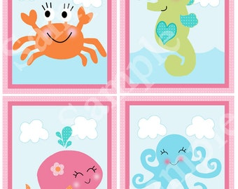 "Printable ""Under the Sea/Pink Whale"" 8x10 Nursery Art  Instant Digital Download"
