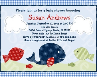 "Personalized/Customized ""Jackson Whale/Fish"" Printable Baby Shower/Birthday Invitation 5x7 Digital File U Print yourself"