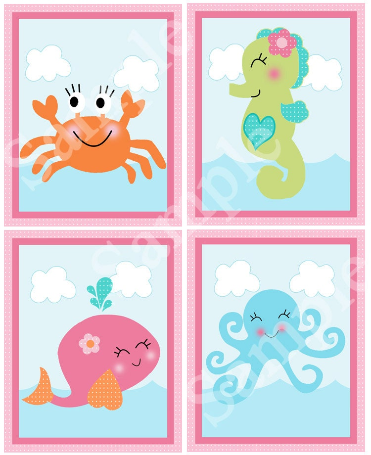 Printable Under The Sea Pink Whale 8x10 Nursery