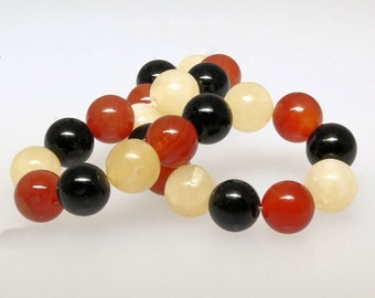 24 Natural Obsidian Beads - 1 Strand - 8mm - BD470