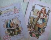 Alice in Wonderland Pink notecards - Alice in wonderland -  blank notecards - embellishments