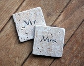 Mr. and Mrs. Coasters, Just Married Set of 2 Coasters for the New Couple, Natural Tumbled Marble White Hand Painted Home Decor Wedding Gift