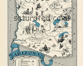 Arizona Map - Map Art - High Res DIGITAL IMAGE of a 1930s Vintage Picture Map - Turquoise Aqua - Charming & Fun