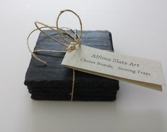 NATURAL SLATE COASTERS set of 4