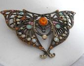 Art Nouveau brooch, butterfly brooch, vintage brooch, figural brooch, art nouveau jewelry, antique jewelry