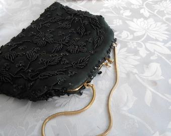 Vintage purse, evening bag, handbag, black beads floral design purse, Made in British HongKong purse, designer purse, vintage accessory