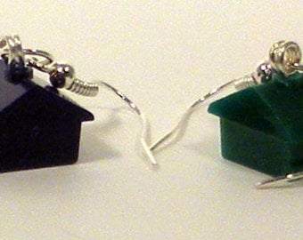 Recycled, Upcycled Monopoly Game Green, Blue House Pieces Earrings