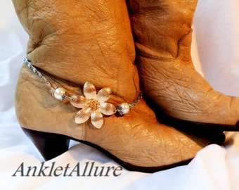 2 Way Cactus Gold Flower Boot Chains Stainless Steel Fusion Gold Silver Boot Jewelry